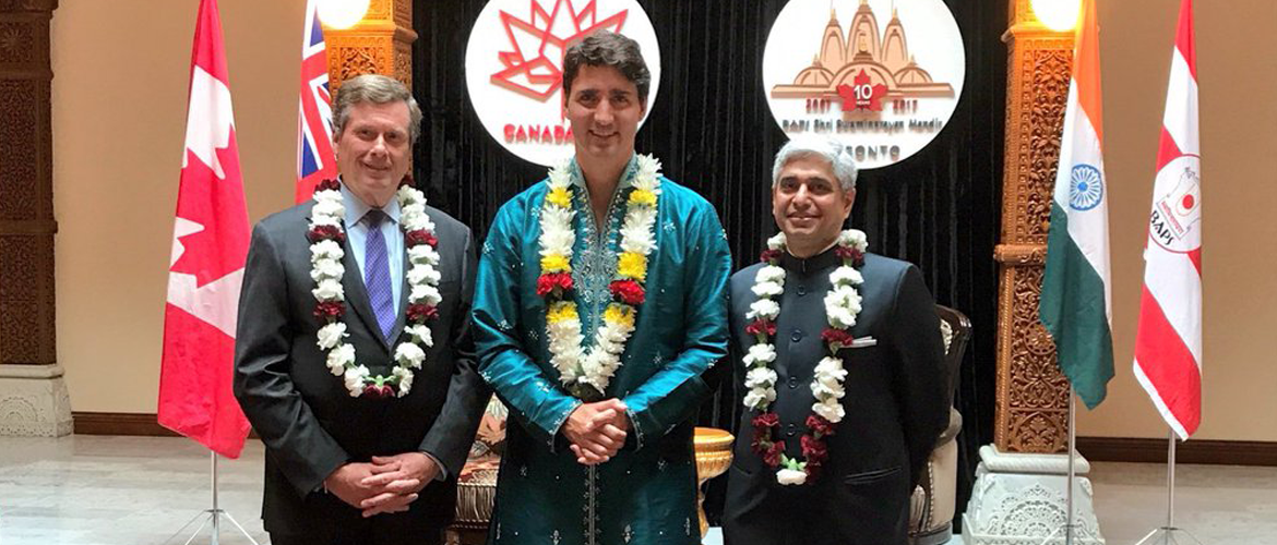 H.E. Mr. Vikas Swarup, High Commissioner with The Right Honourable Justin Trudeau, P.C., M.P., PM of Canada and His Worship John Tory, Mayor of Toronto at 10th Anniversary Celebrations of BAPS Shri Swami Narayan Mandir, Toronto on July 22, 2017