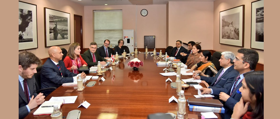 EAM Sushma Swaraj and Canadian Foreign Minister Chrystia Freeland had wide ranging discussions on strengthening relations in trade and investment, security and cyber security, energy, people to people contacts and other relevant bilateral and regional issues (22 February, 2018)